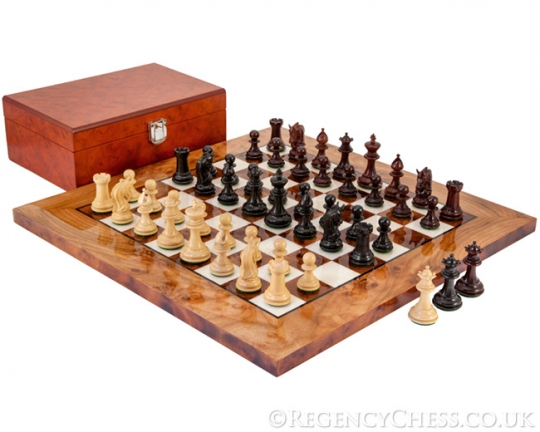 Ebony & Red Sandalwood Corinthian Tres Corone Chess Set