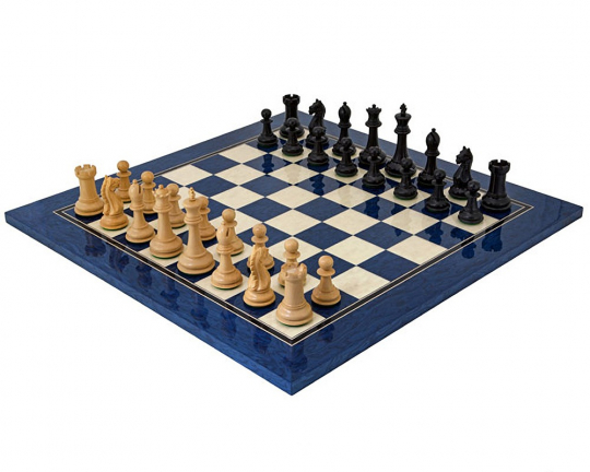 The Oxford Chess Set on a Maple and Blue Stained Erable Board