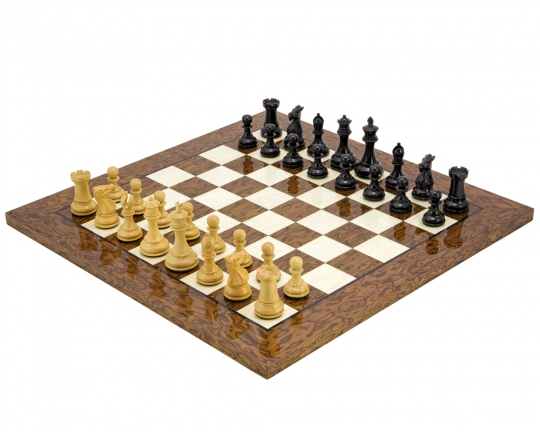 The Windsor Deluxe Chess Set in Cocoa Burl