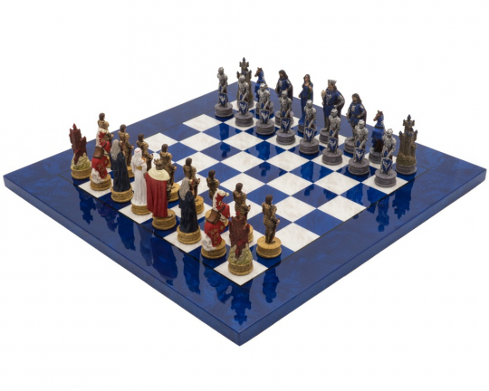 Italfama Luxury Blue King Arthur Hand Painted Themed Chess Set