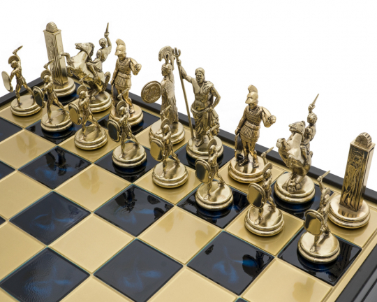 The Manopoulos Greek Mythology Grand Deluxe Chess Set with Wooden Case