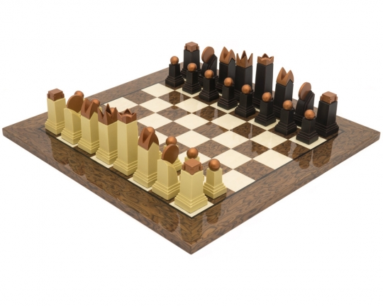 Cocoa Ash Burl Art Deco Chess Set