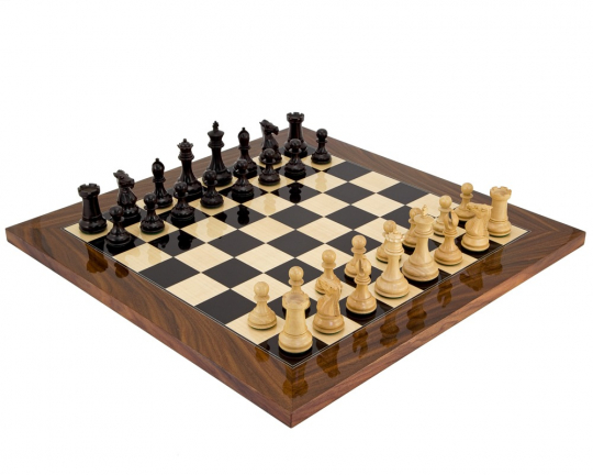 The Elegant Chess Set in Ebony with Palisander Chess Board