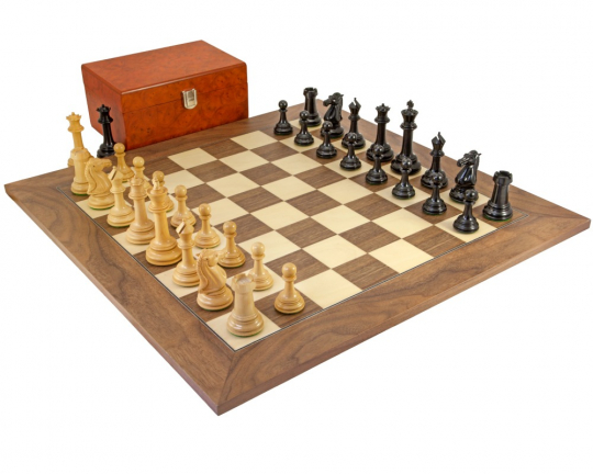 Ebony and Walnut Parthenon Large Chess Set