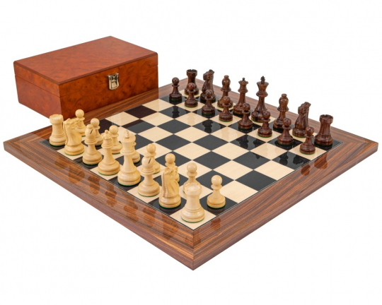 Rosewood Supreme Chess Set with Burl Wood Case