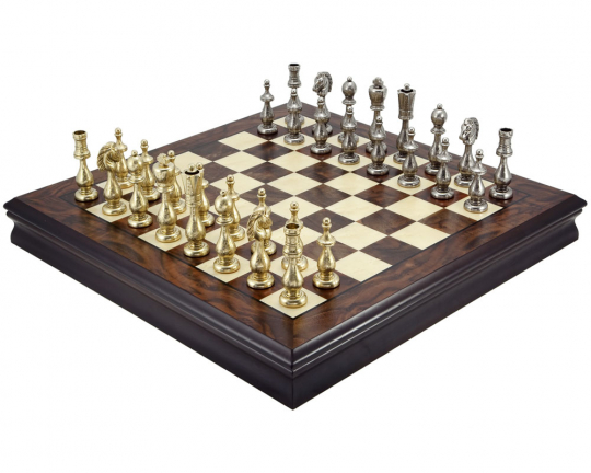 Maghreb Brass and Walnut Traditional Chess Set