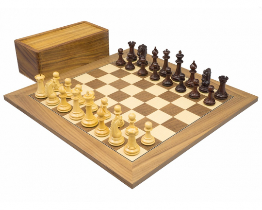 Rosewood & Walnut Sheffield Knight Chess Set
