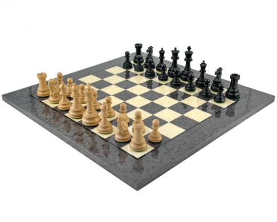 Ebony and Grey Briarwood Cheltenham Chess Set