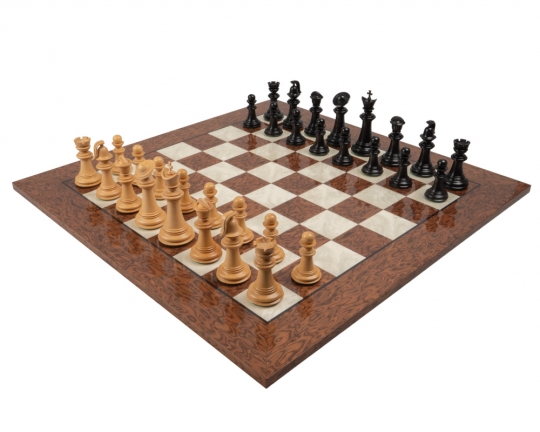 The Greek Staunton Ebony & Cocoa Ash Burl Luxury Chess Set