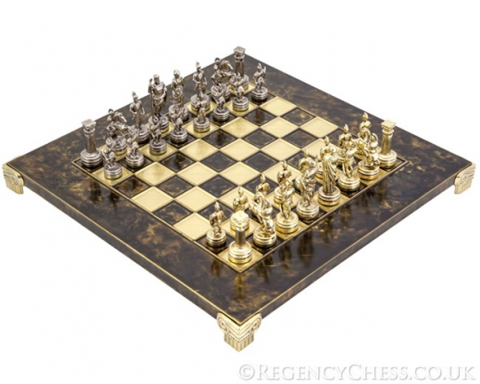 Manopoulos Greek Metal Roman Army Chess Set