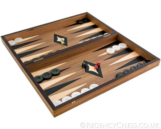 Deluxe Walnut and Maple Manopoulos Backgammon Set