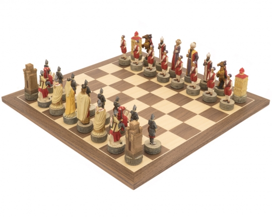Italfama Hand Painted Crusaders vs. Turkish Themed Chess Set