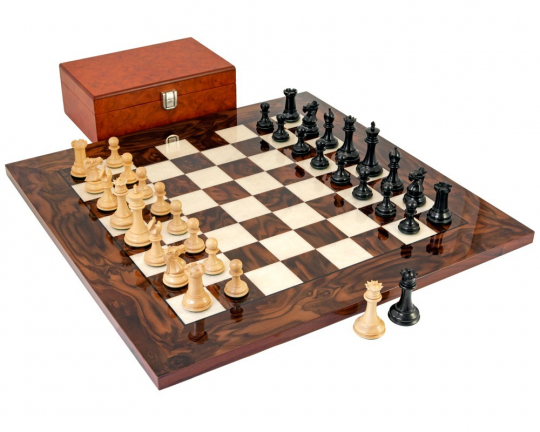 The Black Sovereign Deluxe Chess Set in Solid Ebony