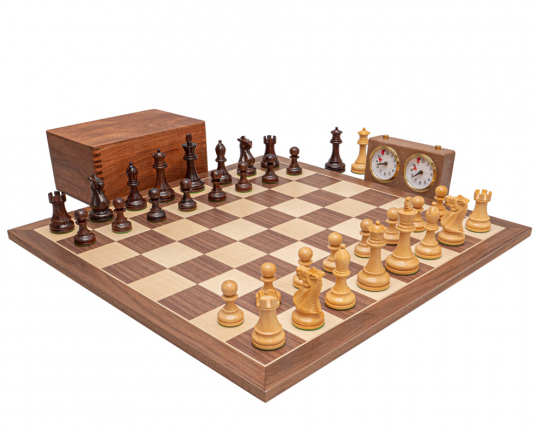 Rosewood and Walnut Deluxe Staunton Chess Set