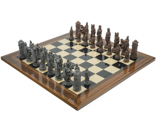 Metal and Palisander Berkeley Chess Roman Chess Set
