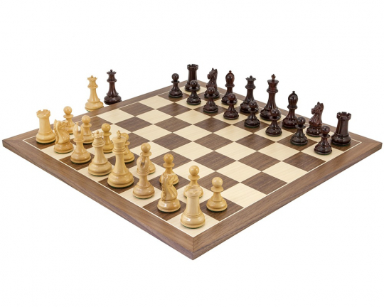 Red Sandalwood and Walnut Sentinel Chess Set