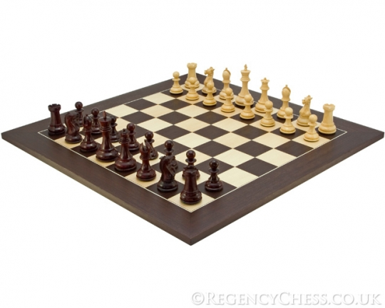The Sandringham Deluxe Chess Set in Red Sandalwood and Wenge