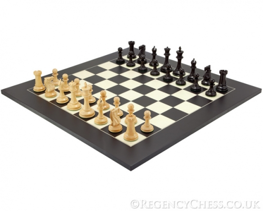The Old English Elite Luxury Chess Set in Ebony and Black