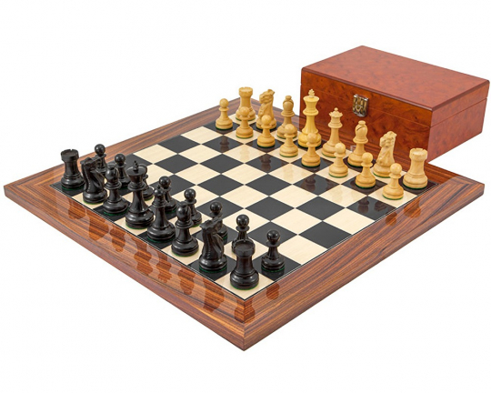 Ebony Supreme Chess Set with Burl Wood Case