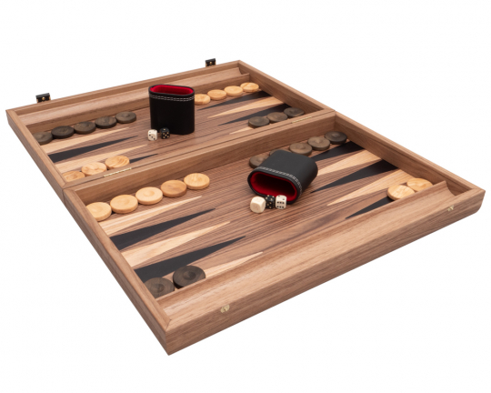 Manopoulos Deluxe Tournament Walnut & Maple Backgammon Set With Philos Deluxe Cups