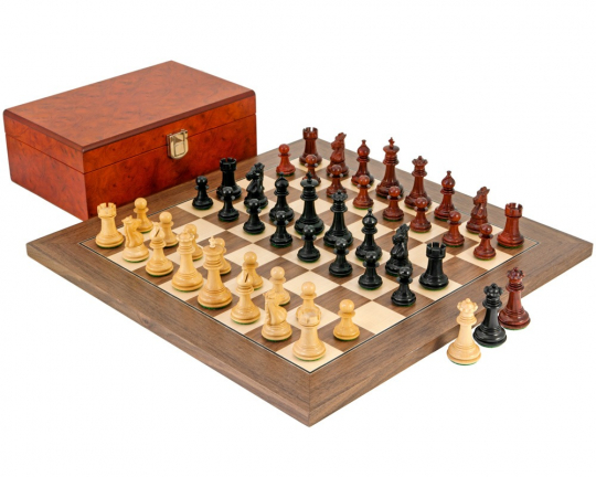 Ebony, Padouk and Walnut Madrid Tres Corone Chess Set