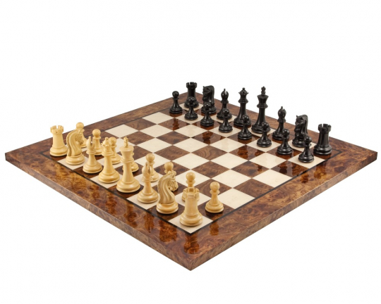 The Canterbury Knight Deluxe Chess Set in Ebony