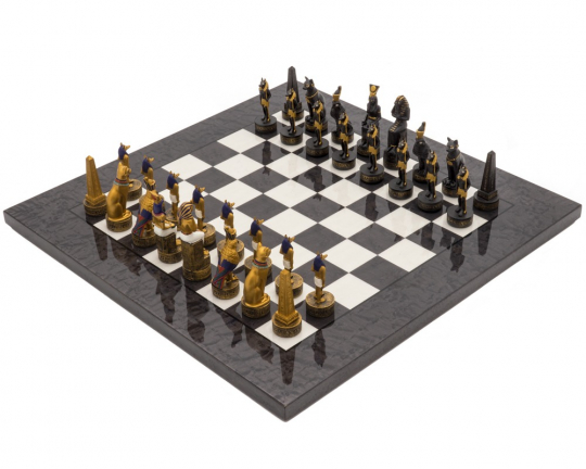 Italfama Luxury Charcoal Ancient Egypt Hand Painted Themed Chess Set