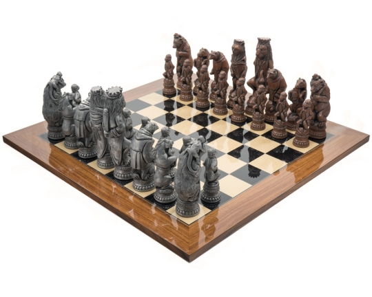 Metal and Palisander Berkeley Chess Reynard the Fox Large Chess Set